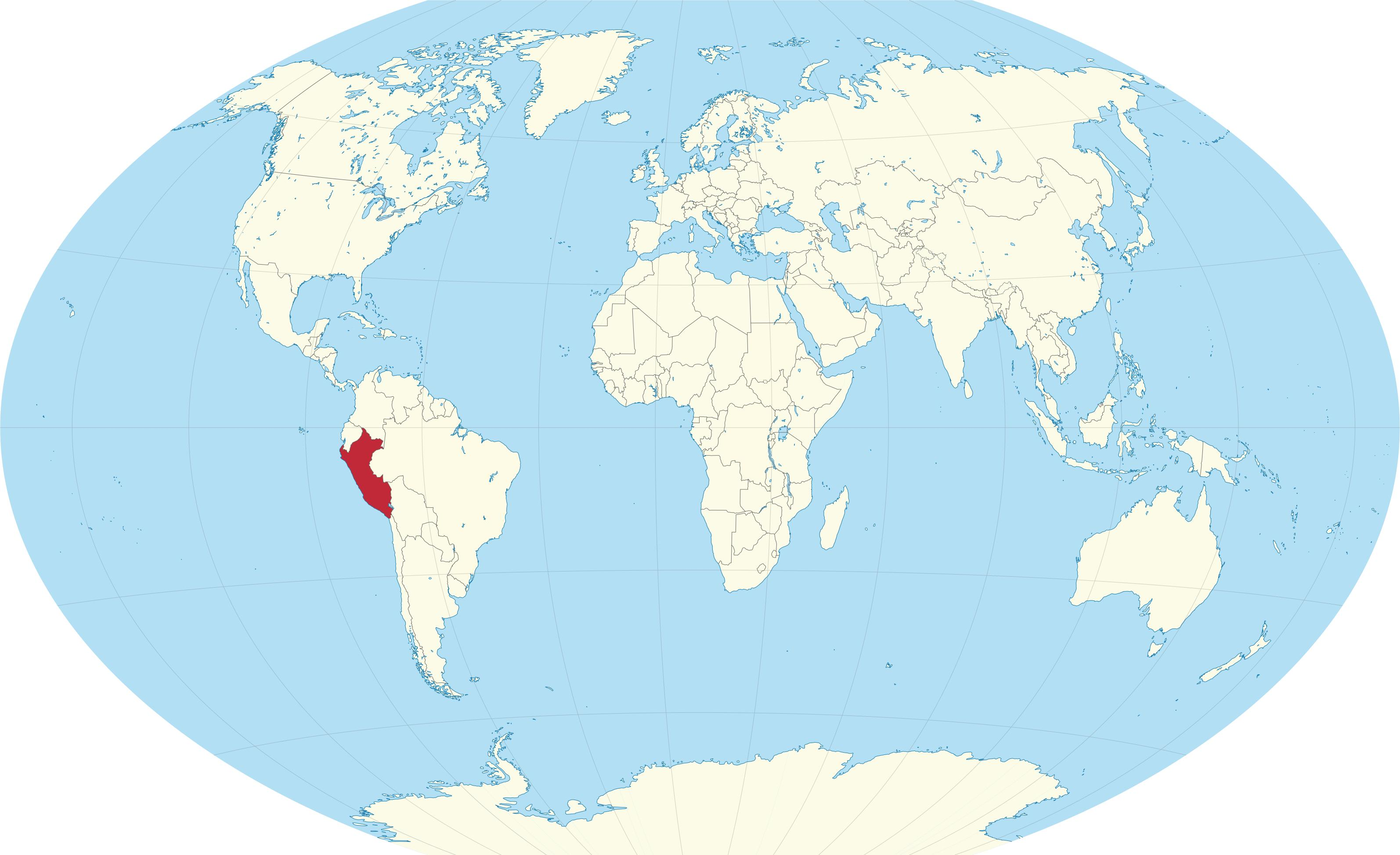 Peru auf der world map - Weltkarte Peru (South America - Südamerika)