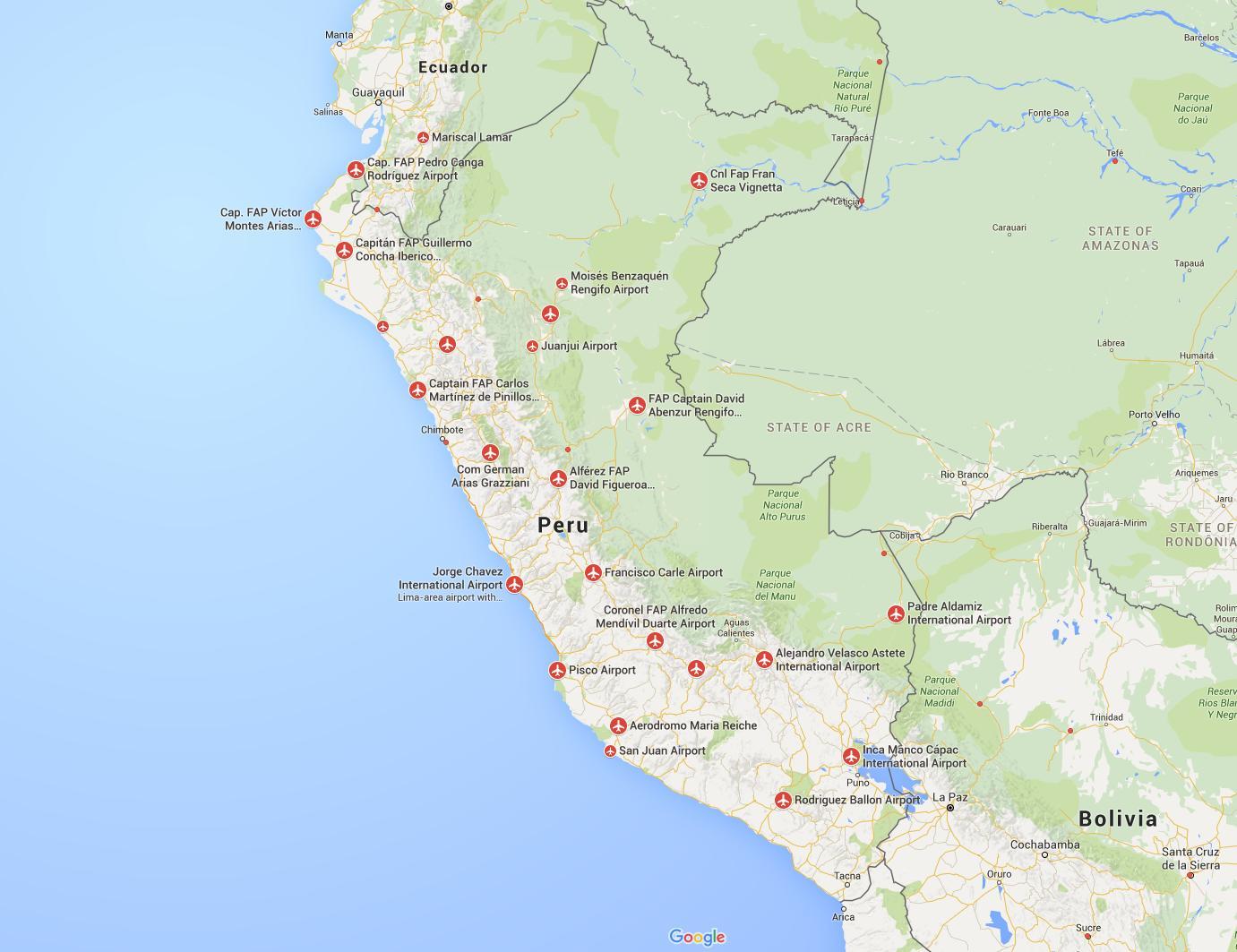 Peru Flughäfen Karte - Flughäfen in Peru Karte (South ...