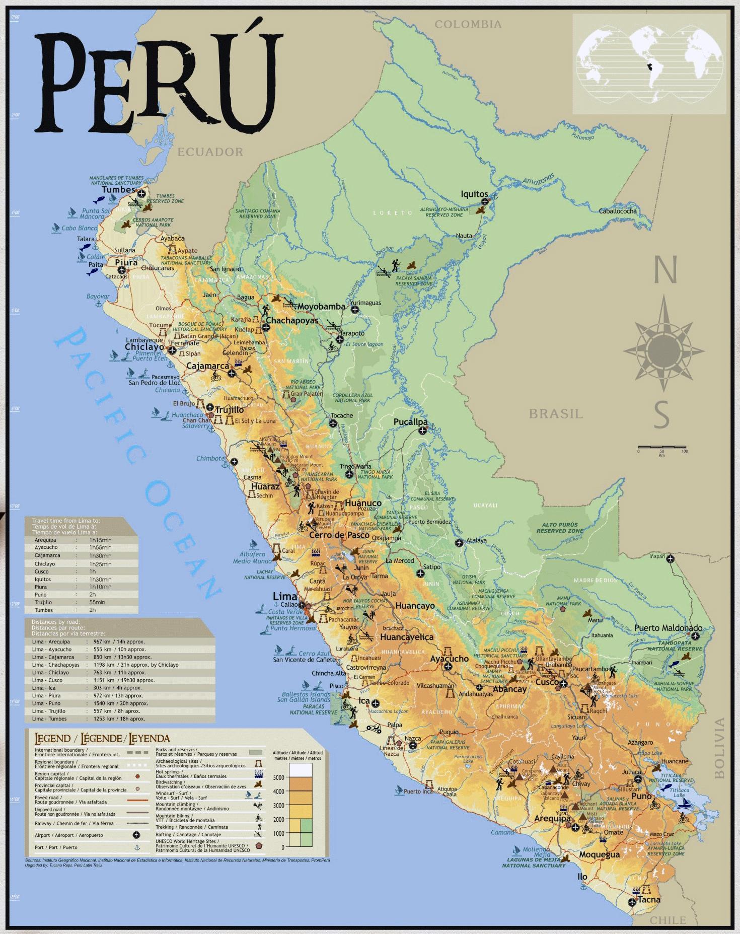 Peru Karte.Peru Reise Karte Karte Von Peru Reisen Südamerika Nord Und