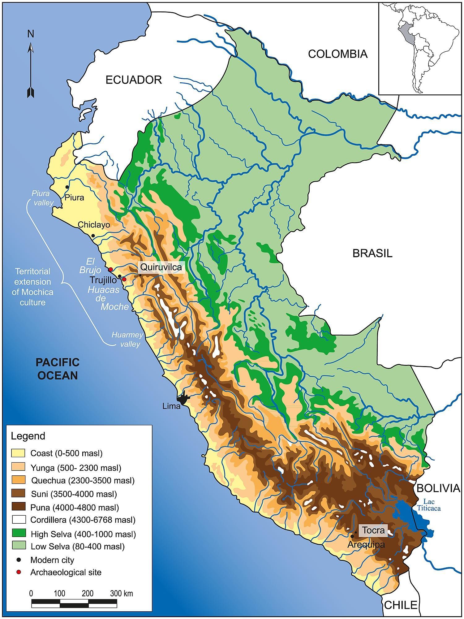 Peru Topographische Karte Peru Geografischen Karte South