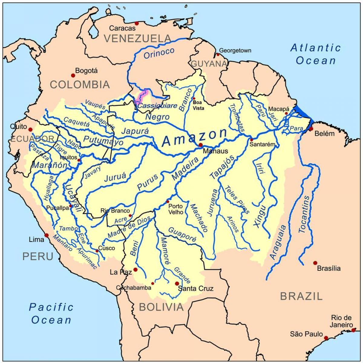 Peru River Karte Flusse In Peru Karte South America Sudamerika